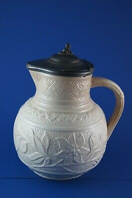 £15 • Buy Antique  Drabware Relief Moulded Cream  Ceramic Pottery Jug With Hinged Pewter /