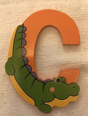 £0.99 • Buy Orange/Green Wooden Crocodile Letter C With Magnet By The Toy Workshop.