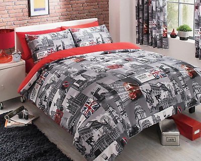 £5.99 • Buy Duvet Cover Set London City Theme With Pillowcases Double Size