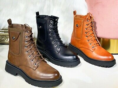 £24.99 • Buy Ladies Womens Military Boots Army Combat Ankle Lace Up Flat Biker Zip Shoes Size