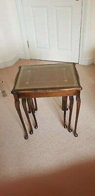 £25 • Buy Nest Of 3 Tables Brown Tooled Leather Topped With Glass