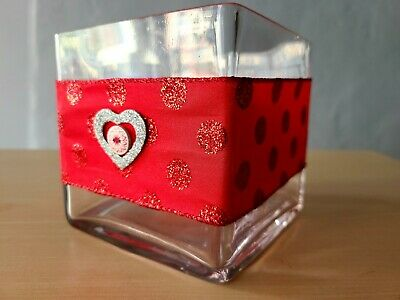 £10.88 • Buy Red Ribbon Clear Square Glass Vase Cube 5x5x5 Dining Centerpiece Candle Holder