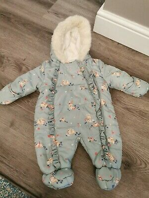 £1.20 • Buy Girls Cosy Showerproof Snowsuit Pramsuit 0-3months,brand New Condition Worn Once