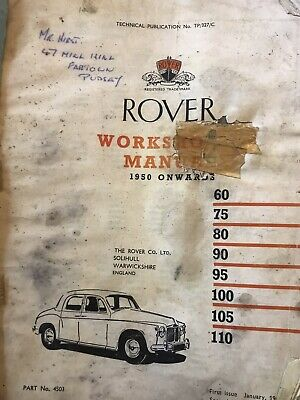 £4.40 • Buy Rover P4 Workshop Manual Well Used