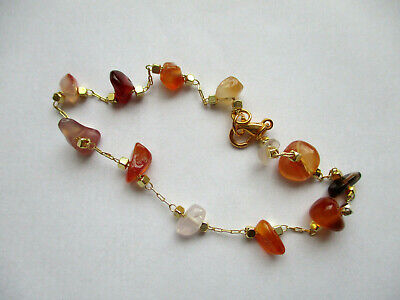 £4.99 • Buy Natural Stone Red Agate Chip Chain Bracelet. 7.5'' -8''