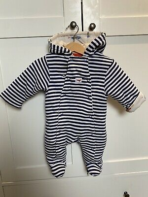 £2 • Buy John Lewis 0-3 Months Hooded Pramsuit / All In One. Striped Blue Fabric