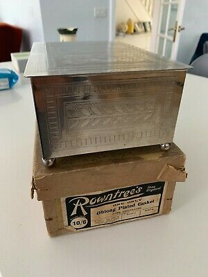£49.99 • Buy Rowntrees York, Oblong Plated Casket Chocolate Case With Original Box RARE Find