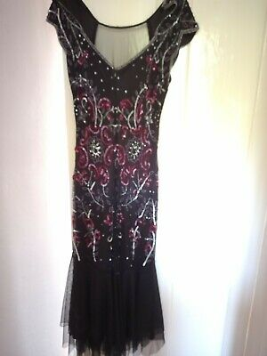 £25 • Buy 1920's Style Gatsby Dresses, Midi Length, Black With Coloured Sequins And Lace.