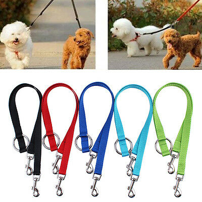 AU11.25 • Buy Double Ended Dog Lead For 2 Dogs 2 Way Coupler Leash Duplex Walking Reflect.