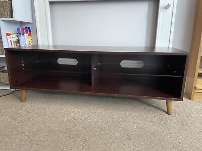 £35 • Buy TV Stand Unit Cabinet Wood/Glass Wallnut Upto 55  Local Delivery