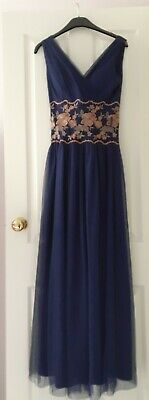 £12.99 • Buy Size 6 Little Mistress Navy Blue Maxi Dress With Embroidered Waist/ Net Overlay