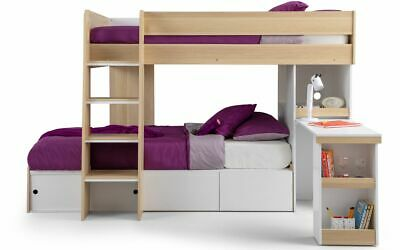 £579.99 • Buy Eclipse Bunkbed Oak And White With Under Bed Storage And Desk  2 Man Delivery