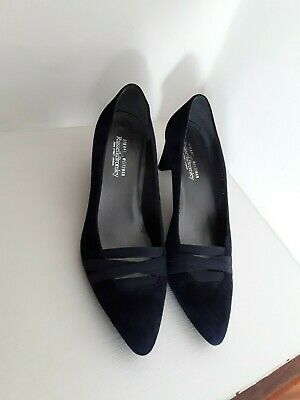 £25 • Buy Stuart Weitzman Russell & Bromley Navy Blue Suede Leather Slip On Heels Size 5.5