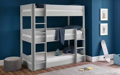 £539.99 • Buy Trio Bunk Bed Frame In Dove Grey Solid Pine 3ft Single 2 Man Delivery