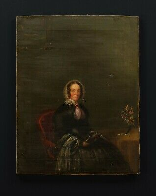 £110 • Buy Portrait Of A Lady Holding A Book | Dated 1853, Old Antique Canvas Oil Painting