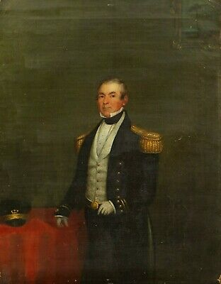 £195 • Buy Portrait Of A Naval Officer | 1853, Old Antique Oil Painting, Gentleman Interior