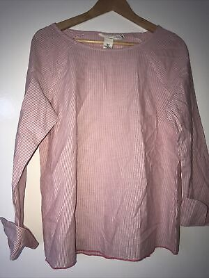 £3.99 • Buy Logg H&M Red And White Striped Linen Shirt Size 10