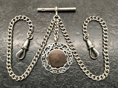 £94 • Buy Antique Silver Curb Link Double Albert Pocket Watch Chain & Fob, By H.P.