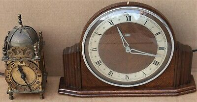 £0.99 • Buy Working Old Small Brass Smiths Electric Lantern Clock & A Metamec Electric Clock