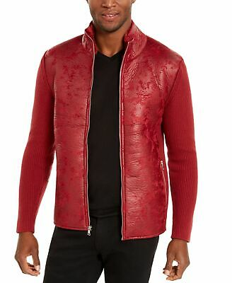 £4.38 • Buy INC Mens Jacket Red Size Large L Faux Fur Lined Collar Mix Media Zip $99 #269