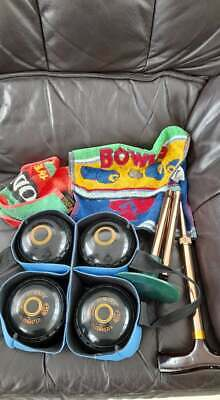 £25 • Buy Set Of Four Almark Clubmaster Bowls Size 5 With Grips And Orange Rings+extras