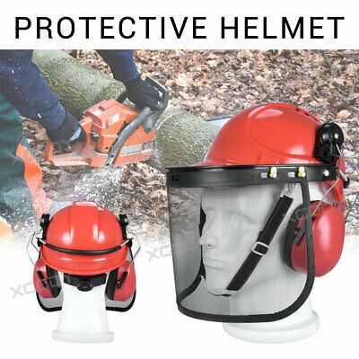 £14.99 • Buy Professional Chainsaw Helmet With Ear Defenders Mesh Visor Free Safety Red Cheap
