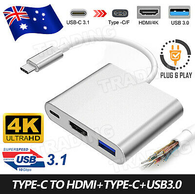 AU9.95 • Buy Type C To USB-C HDMI USB 3.0 Adapter Converter Cable 3 In 1 Hub For MacBook Air