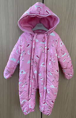 £2 • Buy Blue Zoo Baby Girls Pink Unicorn Footless Snowsuit Age 9-12 Months