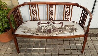 £265 • Buy Fine Example! Antique Edwardian Marquetry, Parlour Sofa, Love Seat, Window Seat