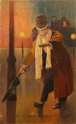£31 • Buy Unusual Antique French Painting | Portrait Of A Gentleman Holding An Umbrella