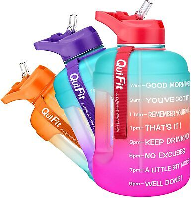 £16.99 • Buy QuiFit Water Bottle With Straw 2.2 Litre Motivational Sports Jug