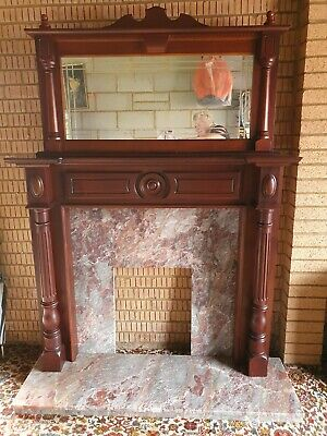 £130 • Buy Mahogany Wood Fire Surround And Mirror With Marble Plinth And Backing (frenchic)