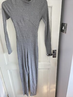 £1 • Buy Grey Ribbed Catsuit Jumpsuit Size 10