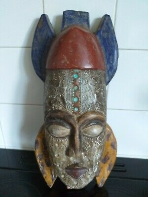 £19.99 • Buy Vintage Wooden Painted And Metal African Mask