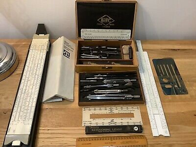 £30.89 • Buy Antique Drawing Instrument Set BWC London Mathematical Compasses 1940s Beech Box