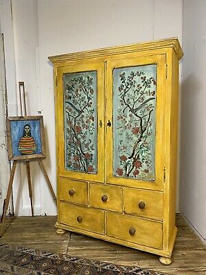 £895 • Buy Vintage Painted Pine Wardrobe Cupboard Linen Press With Inlaid Boiserie Design