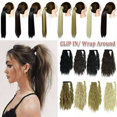 £4.95 • Buy UK Real Thick Clip In Like Human Hair Extensions Pony Tail Wrap On Ponytail Hgfd