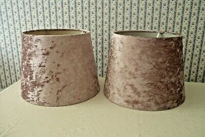 £9.99 • Buy A Pretty Pair Of Crushed Velvet Lamp/light Shades - Dusty Mauve