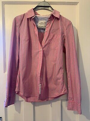 £2 • Buy H&M Logg Pink&green Stripe Shirt Size 10 Button Front Good Condition