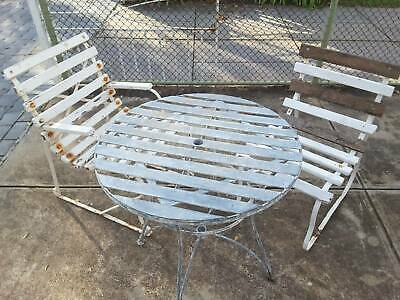 AU155 • Buy Outdoor Setting RUSTIC 2 CHAIRS TABLE WOODEN SLATS CHAIRS