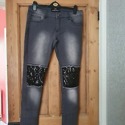 £5.50 • Buy Gorgeous Sequin Patch Skinny Jeans.  NWOT, Size 14