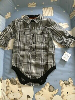 £4.95 • Buy Baby Boys Black/white Checked Shirt Style Collared Bodysuit 12-18m George New