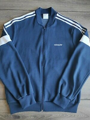 £14.90 • Buy Men's Vintage Adidas Navy Blue Zip Up Cotton Polyester Track Top Size L