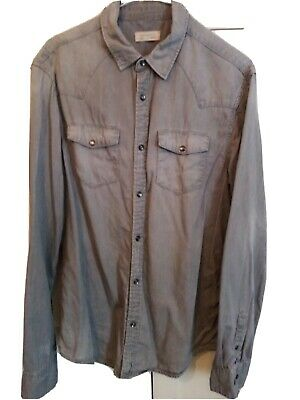 £9.99 • Buy All Saints Denim Shirt Size Medium Cotton Pearl Snap Buttons Grey Faded Wash