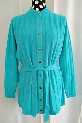 £5 • Buy Vintage ST MICHAEL, Size 16, TURQUIOSE CARDIGAN With Belt, NEW