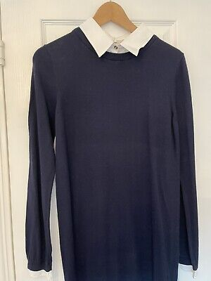 £3.90 • Buy Seraphine Navy Knit Dress With Whote Collar Size Medium Maternity