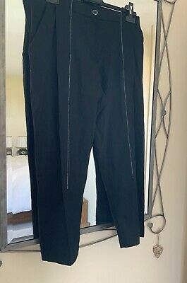 £34.99 • Buy New Crea Concept Trousers/black With White Stitching/stretch Linen Mix/42=16