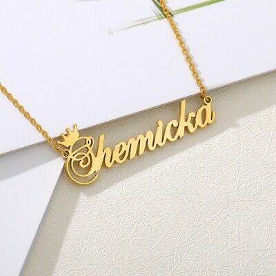AU3.98 • Buy Custom Name Necklace For Women Pendant & Chain Gold Pleated Personalized Jewelry