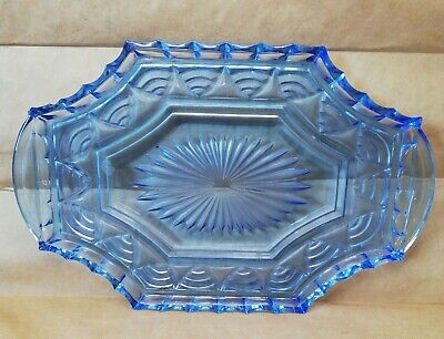 £9.99 • Buy Vintage Blue Art Deco Glass Vanity Dressing Table Tray Replacement
