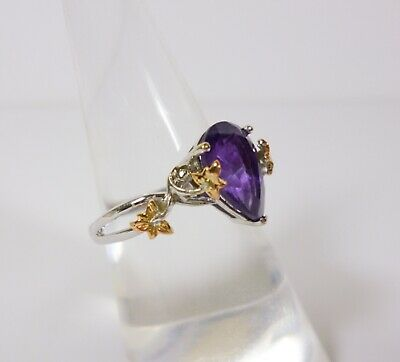 £375 • Buy Clogau 18ct White & Rose Gold Amethyst Great Vine Ring Size L